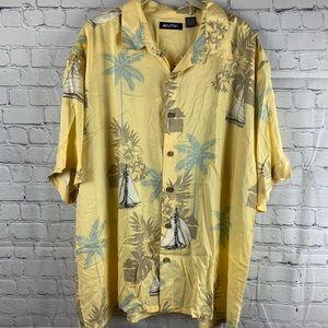 Yellow Hawaiian Shirt Sail Boat & Palm Tree